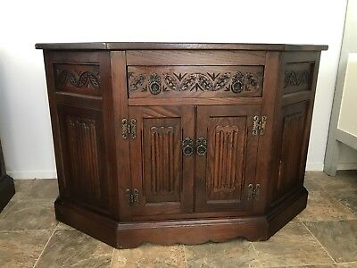 Old Charm Light Oak Canted Cabinet Phone Side Table Sideboard Tv Stand