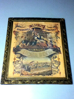JOS. Schlitz brewing company Milwaukee lager beer sign 1971 of 1878 print old J7