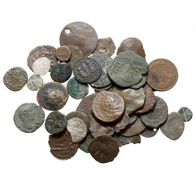 Lot Of 40 Ancient Greek Roman & Medieval Bronze Silver & Billon Coins