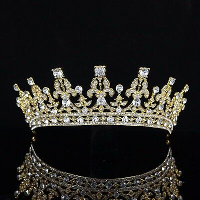 Queen Clear Austrian Rhinestone Tiara Crown Bridal Pageant Prom Wed Gold T69g