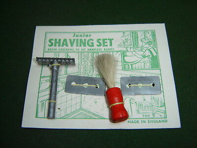 1950s Vintage Merit Toys Junior Shaving Set Made England MOC Razor Blades Brush