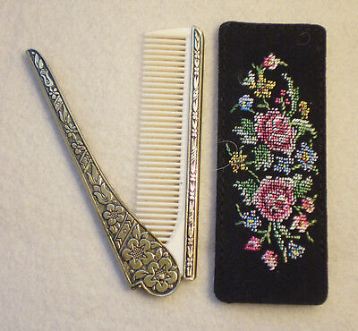 Vintage Damacene Folding Hair COMB with Floral Silk Hand Sewn Petitpoint Case