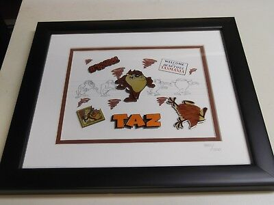 Warner Brothers Store Taz Limited Edition Framed Pin set 980/1500 COA Looney Tun