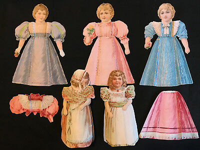 Lot of 5 Vintage McLaughlin Coffee Victorian Advertising Paper Dolls/Dresses