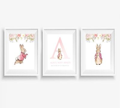 3 PETER RABBIT Prints Personalised Name Nursery Wall Art Pictures ...
