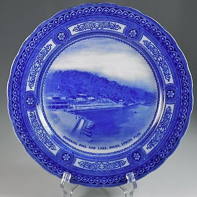 Royal Doulton Rock Springs Park W VA Flow Blue Transfer Plate Plate & White #1