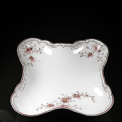 Antique Schumann Square Lobed Bowl Hand Painted Florals Accents Maroon Yellow