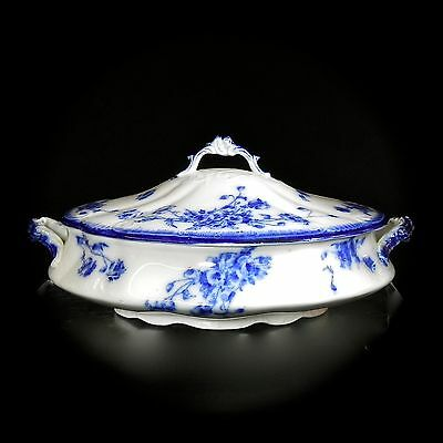 Antique Grindley Le Pavot Oval Covered Vegetable Dish Flow Blue Embossed