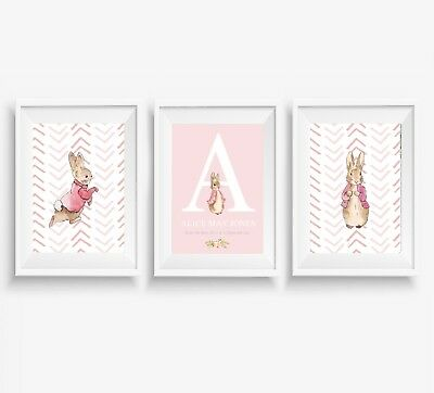3 Peter Rabbit Prints Girls Personalised Name Nursery Wall Art Posters Pictures  sc 1 st  PicClick UK & 3 PETER RABBIT Jemima Duck Prints Personalised Name Nursery Wall Art ...