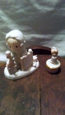 Precious Moments Lot of 2 Figurine and Trinket Box!