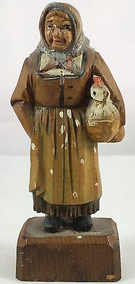 Antique Anri Wood Carving Hand Painted Lady With Chicken In Basket Small Size