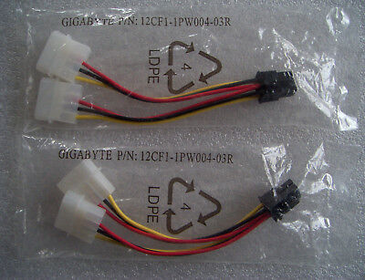 GIGABYTE 6Pin Power Connector Cable( Lot Of 2 ) P/N : 12CF1-1PW004-03R ( New )