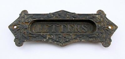 Antique Art Nouveau ? Metal Letter Box Plate / Door Mail Slot