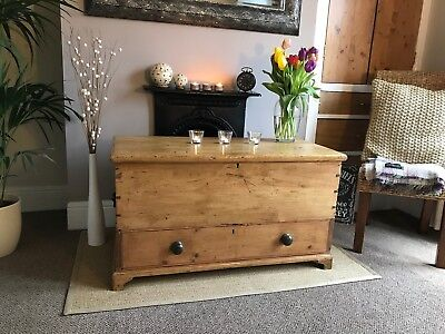 Stunning Antique Victorian Vintage Old Pine Mule Chest /Wooden Trunk Blanket Box