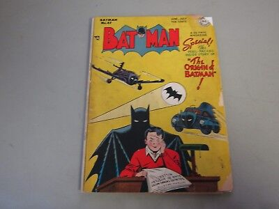 Batman #47 Comic Book   The Origin Of Batman   1st Bat Signal Cover In Title KEY