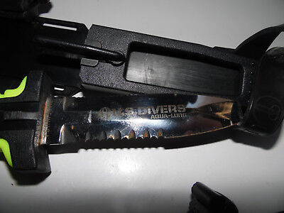 U.S. Divers Aqua Lung Flat Head Knife w/ safety lock Holster Waterproof