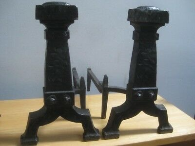 2 Antique Cast Iron Fireplace Andirons 16 Inch With Stands Used Zz