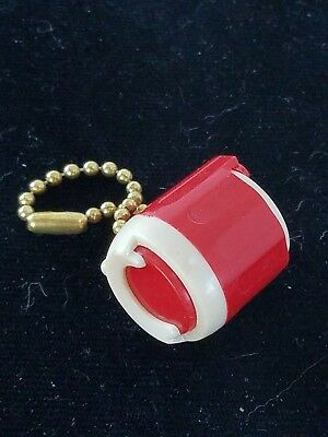 Vintage Red Plastic Coin Keeper Holder Change Keychain Penny Dime Nickel