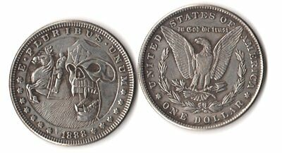 1888 Morgan Dollar Hobo Nickel Style Skull Knight W/ Horse Novelty Fantasy Coin