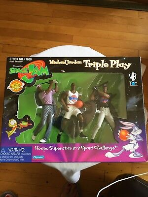 1996 Space Jam Michael Jordan Triple Play Action Figure Set, With Stand