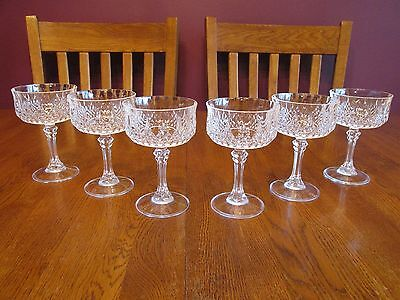 6 Cristal D'Arques Longchamp Tall Sherbet Ice Cream Dishes Champagne Glasses