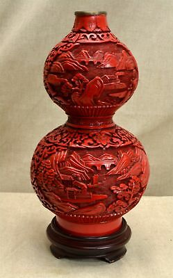 "Vintage CHINESE CARVED CINNABAR LACQUER 10"" BOTTLE VASE - ON BRASS/WOOD STAND"
