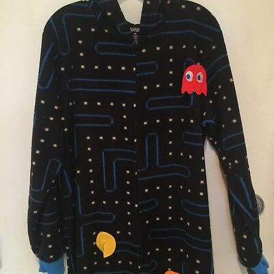 Pac-Man Game Fleece Adult One Piece Pajamas with Sick On Game Pieces Large