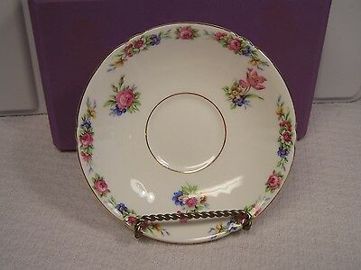 OLD ROYAL BONE CHINA  Saucer Made in England Pink White Blue Flowers Gold Trim