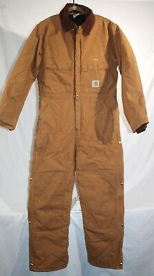 Carhartt X02 Quilt Lined Double Front Coveralls Suit, Mens 40 Reg / Med, Brown