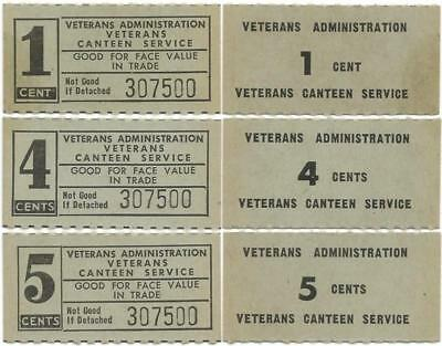 VETERANS CANTEEN SERVICE Good For 1¢ 4¢ >FOUR CENTS!< & 5¢ Nice CHITS or COUPONS
