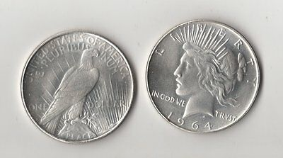 1964 D & 1965 Peace Dollars Silver Plated Novelty Fantasy Issue Coins  AU