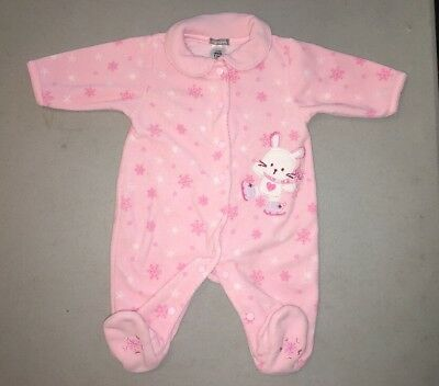 Carter's Infant Girl Small 3 Month Mo Footed Fleece Pajamas Snaps