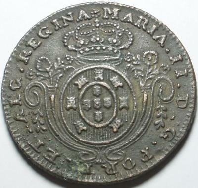 1829 Only TERCEIRA ISLAND Portuguese AZORES Cast 80 REIS Maria II NECESSITY COIN