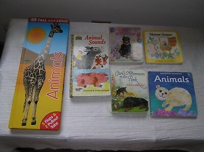 Lot of 6 Large & Small Tall and Long ANIMALs SOUNDS Carl Dog Board Books