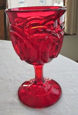 L. G. Wright Glass Ruby Red DOUBLE WEDDING RING Water Goblet