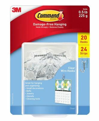 3M Command Damage-free Hanging 1/2 Lb 20 Small Clear Plastic Hooks 24 Strips New