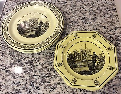 Mottahedeh Italy Panorama Yellow Plate (set Of 8)