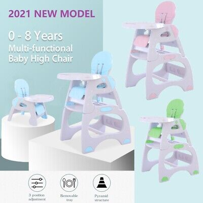 *New 3 in 1 Baby High Chair Desk Convertible Play Table Conversion Seat-4 Colour