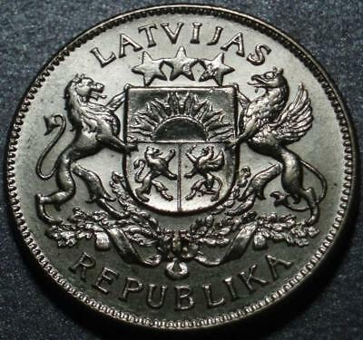 1925 FREE REPUBLIC of LATVIA Very Nice SILVER TWO LATI, Struck in JUST TWO YEARS