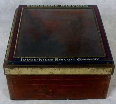 Vtg General Store Glass Top Display Sunshine Biscuits Loose Wiles Biscuit Co Box