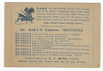 Dr. Ball's Famous Hustena late 1800's medicine trade card
