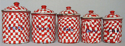 Antique Vintage French Enamel 5 Piece Canister Set ~ Red/White Droopy Check