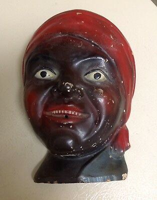 Antique Chalkware Black Americana Mammy / Lady Wall String Holder / Plaque