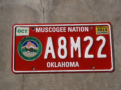 Muscogee Nation of Oklahoma 2010 License Plate  # A8M22