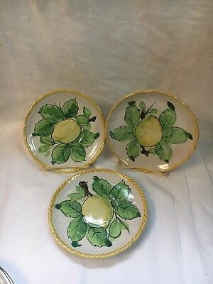 3 SICILIA Italy 4183 Lemons SAUCERS Pottery  as is