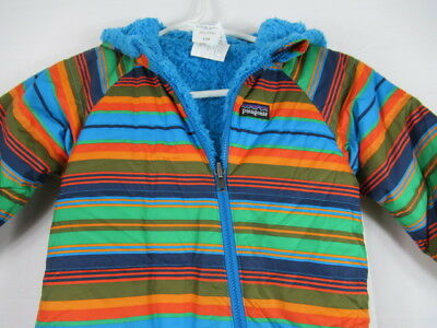 TODDLER 12M Patagonia Snow Suit Fleece Lined Multi Color Striped BABY Reversible