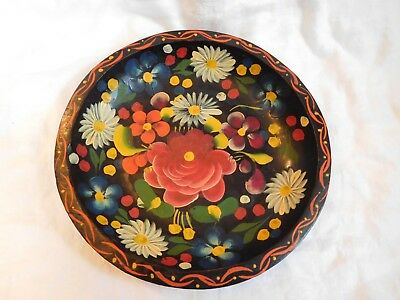 """Carved Wood Hand Painted Mexico Black Floral Folk Art Old 11""""Batea Bowl Plate #6"""