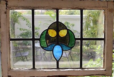 Antique Leaded English Stained Glass Window Wood Frame England Old House 64