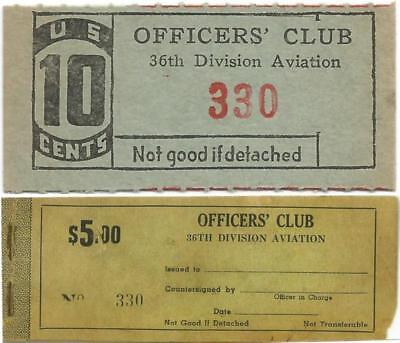 "Army 36th DIVISION AVIATION of the TEXAS NATIONAL GUARD 10¢ ""Officers Club Chit"""