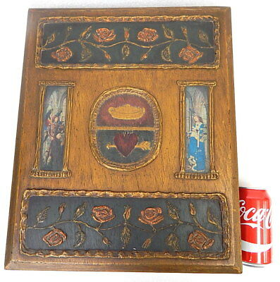 19th C Antique Ornate Carved Wood French Decoupage Dowry Bible Box Case